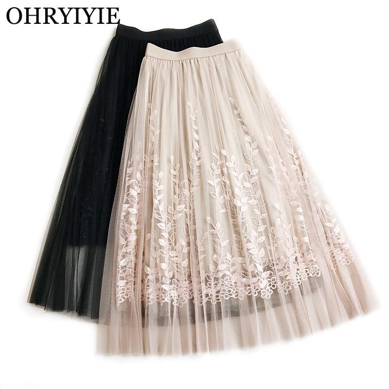 b38ac646e OHRYIYIE moda bordado tul falda mujeres 2019 nuevo elástico de cintura alta  hueco falda femenina ...