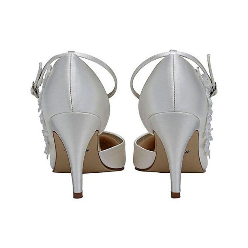 Floral La Mariage 42 Chaussures Femmes Printemps Sangle Dames Plus Taille 43 2018 De Satin Shoes41 Talons Mariée Cheville Fsj01 Automne Blanc Pompe 8naqnp4w