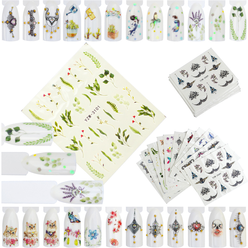 FWC 12 Styles Nail Art Flower Pattern Water Transfer Stickers Nail Decals With Butterfly Vintage High end Necklace Nail Sticker in Stickers Decals from Beauty Health