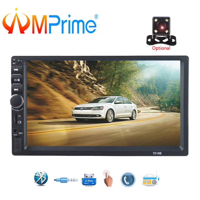 "AMPrime 2 Din Car Radio 7"" HD Car Multimedia Player 7018b Autoradio Bluetooth MP5 USB Audio Stereo With Rear View Camera Control"