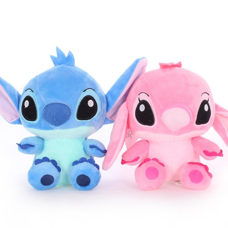 2 Pcs/set  20 CM  Stitch And Girlfriend  Plush Toys Disney Pink Cute Toys Kids Birthday Soft Wedding  Gift