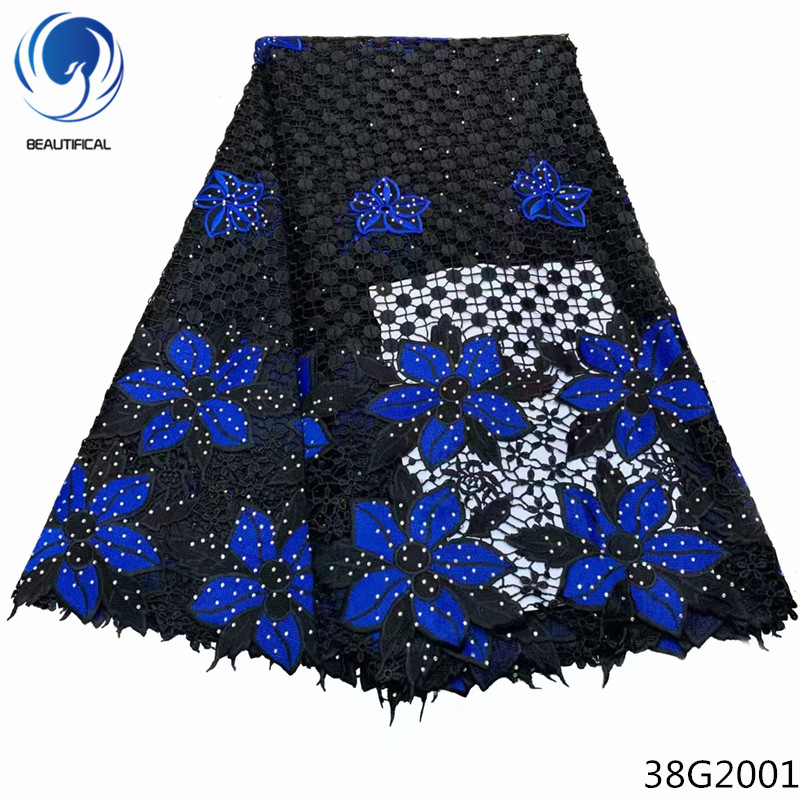 Beautifical cord lace material guipure lace fabric wedding dress nigerian lace fabric 2018 african high quality blue color 38G20 in Lace from Home Garden