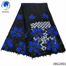 Beautifical cord lace material guipure fabric wedding dress nigerian 2018 african high quality blue color 38G20