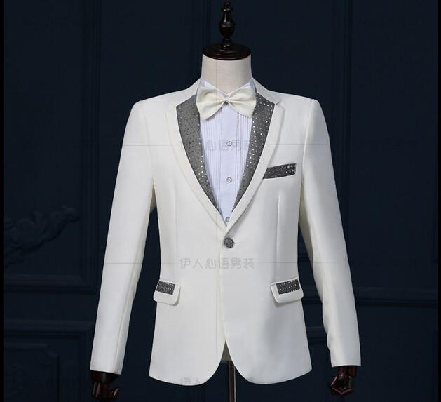 Nueva marca hot Men ropa de lentejuelas blanco y negro traje de la etapa del vestido fotografiar trajes discotecas vestido de boda del novio