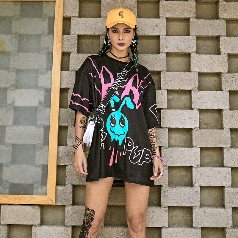 Hip Hop Costumes Black Cartoon Short Sleeve T-Shirt Dress Street Dance Clothing Women Cheerleading Wear Jazz Stage Outfit DT884