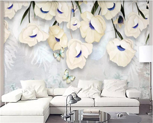 beibehang Custom size modern minimalist fresh three-dimensional floral living room TV sofa wall decoration mural wallpaper