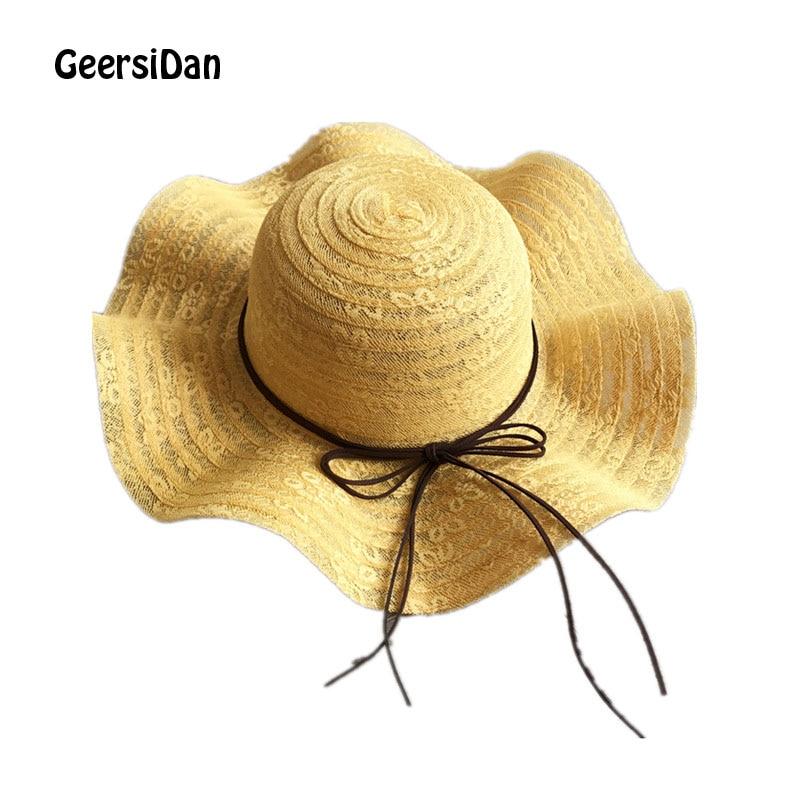 Willensstark Geersidan 2019 Neueste Große Breite Krempe Strand Hüte Caps Fashion Wellenförmige Bogen Sommer Sonne Hut Für Frauen Klapp Visier Hut Chapeu Feminino Bekleidung Zubehör