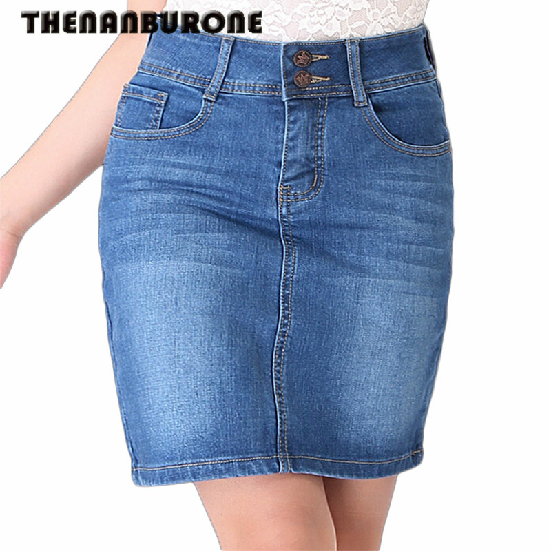 THENANBURONE New Casual Long Jean Skirt 2017 Summer Fashion Denim Skirt Ladies Pockets Hip ...