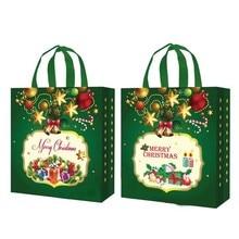 8Pcs Nov-Woven Pattern Printed Christmas Holiday Gift Bags D