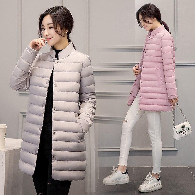 Теплая зима тонкий хлопок куртка женщин ультра легкие ватные тонкий слой так воротник однобортный средней длины стиль парки ss854