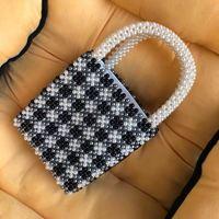 Brand Design Black and White Children's Bag Summer Hot Beaded Bag Handmade London Style White Plus Black Trend Women's Handbag