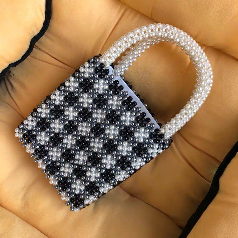 Sac de marque Design noir et blanc pour enfants sac d'été perlé chaud fait à la main Style londres blanc Plus noir sac à main tendance pour femmes