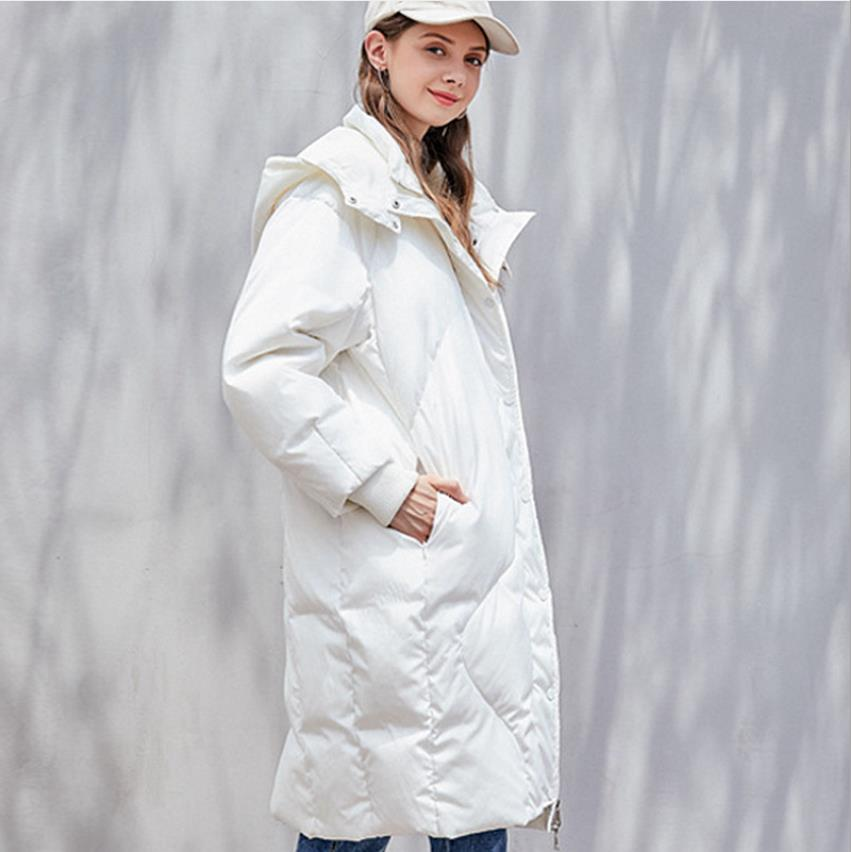 Winter fashion brand bread style hooded duck   down     coat   female zipper stitching oversize clorak style warm   down   parkas wq888