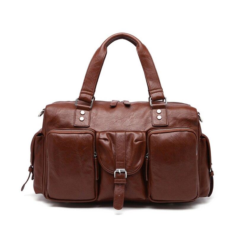 Business briefcase Laptop bag Large capacity Travel bags Casual leather handbag Designer Shoulder Messenger Bags Barrel-shaped