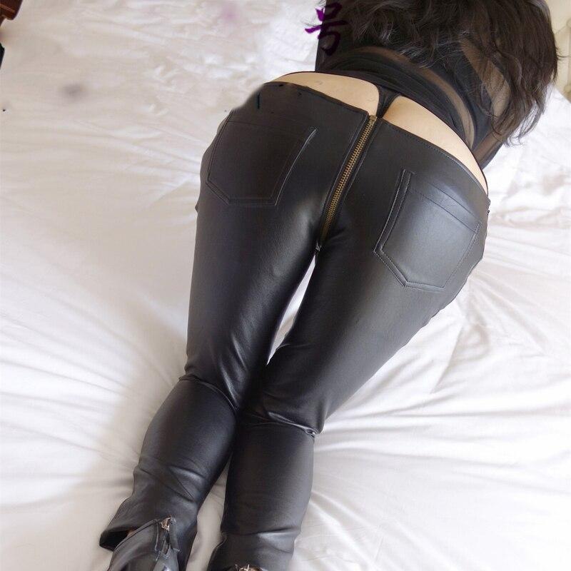 Sexy Zipper Open Crotch Pencil Pants Faux Leather Women Leggings Low Waist  Gothic Pencil Hot Pants