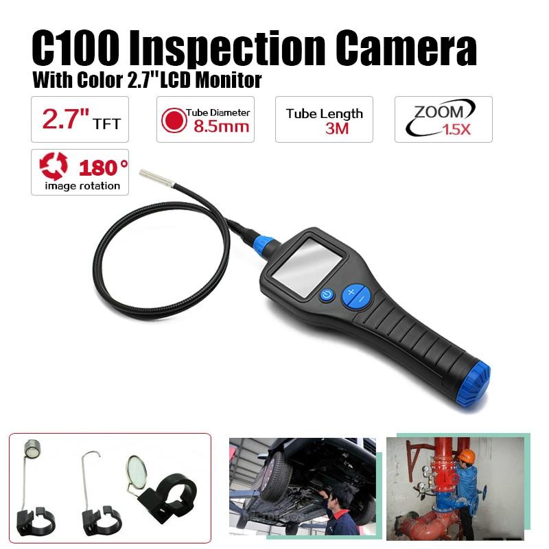 Eyoyo C100 8.5mm 2.7 Endoscope Borescope Inspection Snake Camera Rotate Zoom Total 3 Meter eyoyo nts200 endoscope inspection camera with 3 5 inch lcd monitor 8 2mm diameter 1 meters tube borescope zoom rotate flip