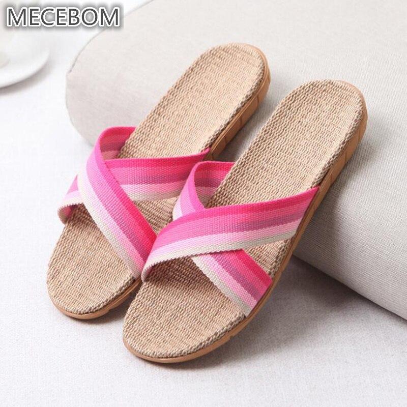 2018 Summer Flax Bathroom Home Women Flip Flop Shoes Non Slip Sandals Slipper Flat Wedge Heel Platform Shoes Chaussure Femme 25W 5