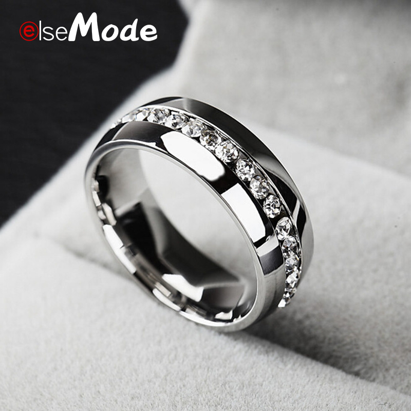 ELSEMODE  Titanium Stainless Steel CZ Stone Ring for Women Weddings Ring Classical Lover Couple Rings Valentine's Bague Bijoux(China)