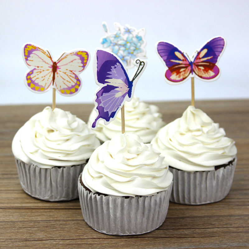 Wholesale 720pc/lot Butterfly Flower Cupcake Toppers Picks ...