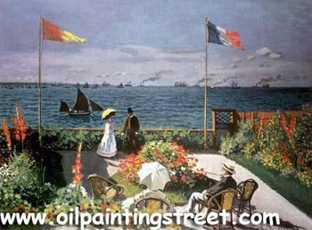 Oil Painting reproduction on linen canvas,terrace at sainte adresse by claude monet,Free DHL Shipping,100%handmade,museumQuality