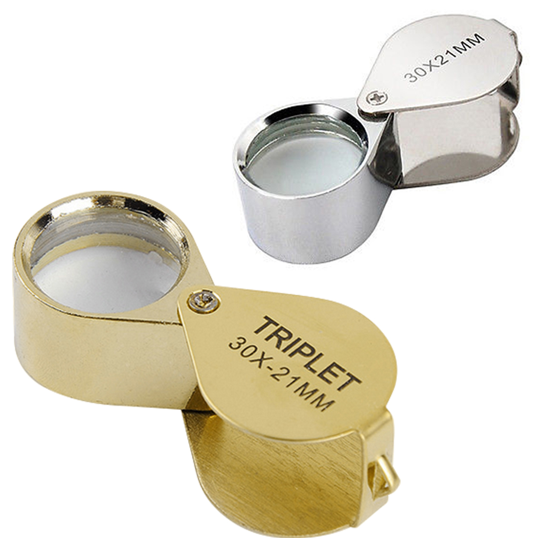 Aiernuo 30 X 21mm Glass Jeweler Loupe Loop Eye Magnifier Magnifying Magnifier Metal Body Silver