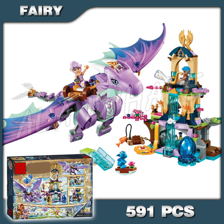 591pcs Elves The Dragon Sanctuary 10549 Building Kit 3D Model Blocks Children Fairy Tale sets Princess Toys Compatible with Lago image