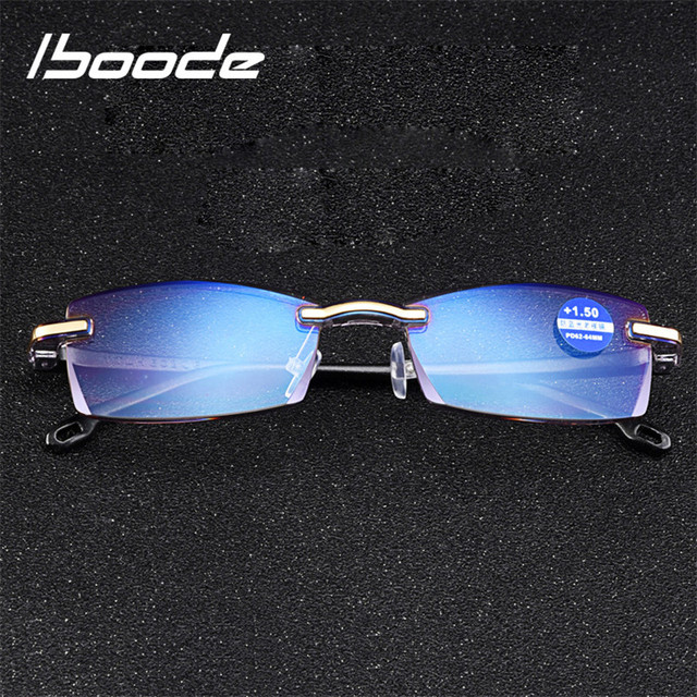 iboode Blue Film Resin Reading Glasses Men Women Frameless Presbyopic Glasses +1.00 1.50 2.00 2.50 3.00 3.50 4.00 Diopter