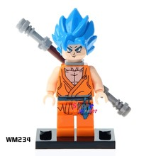 1PCS model building blocks action superheroes Dragon Ball Z Goku Son Vegeta Master diy toys for children gift(China)