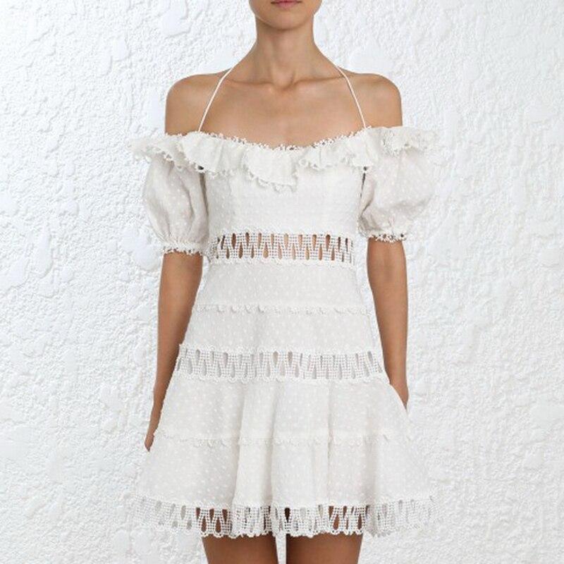 Runway Women Casual White Dress 2018 Runway self Portrait Sexy Off the shoulder Hollow Out Dress Club Wear Dress vestidos