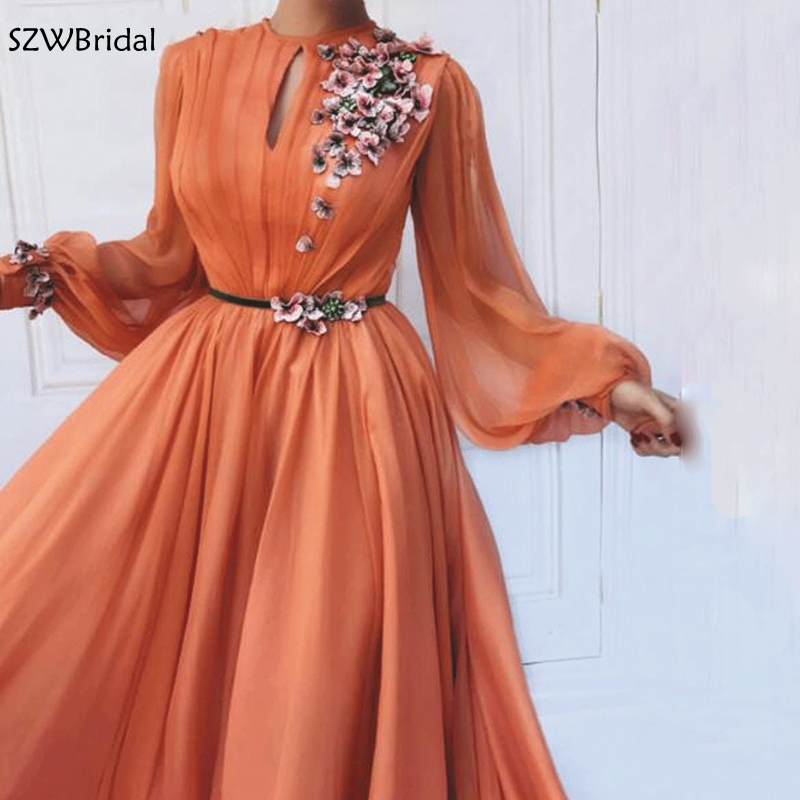 New Arrival Chiffon Long Sleeve Evening Dress Lace Flower Appliques Evening Gowns 2020 Robe Soiree Formal Dress Party