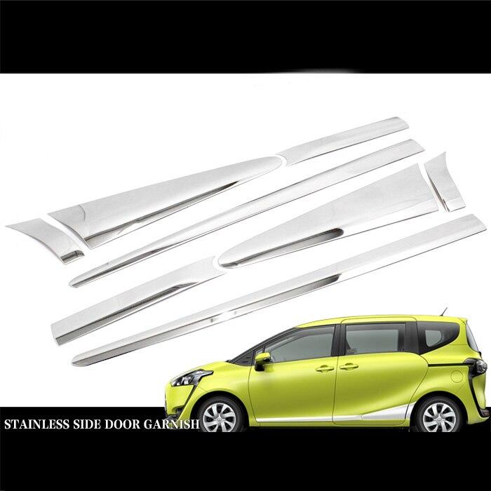 JY For Toyota Sienta 170 2015 2017 Door Side Trim Cover 8PCS SUS304 Stainless Steel Car