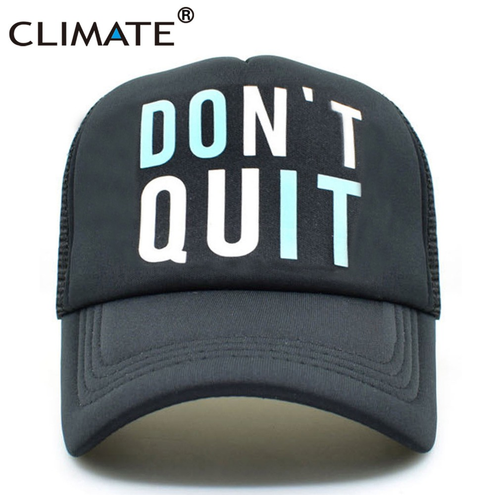 CLIMATE Men Women Summer Mesh Trucker Caps GYM Fitness Fans Black Cool Mesh Cap Do It Don't Quit Bodybuilding Muscle Caps Hat
