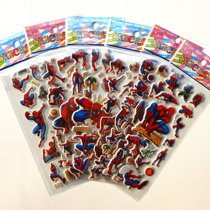 10 Sheets Spiderman Dinosaur DIY Stickers 3d Cartoon Children Girls Stickers Kids Boys Toys Waterproof PVC Scrapbook Pegatinas