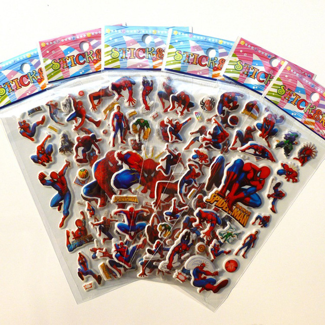 10 Sheets Spiderman Dinosaur DIY Stickers 3d Cartoon Children Girls Stickers Kids Boys Toys Waterproof PVC Scrapbook pegatinas