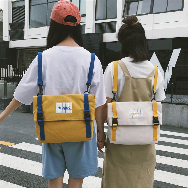 Japanese Simple Cute Backpack Harajuku Multifunction Student Book School Plaid Bag Personality Canvas Pack Yellow Pink Rucksack
