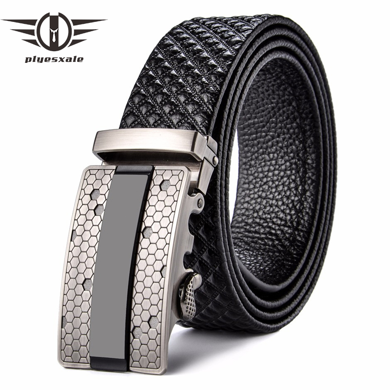 Plyesxale Mens Designer Belts 2018 Brand Genuine Leather Belt Cowboy Mens Luxury Belts Plaid Casual Strap Cinturones Hombre B60