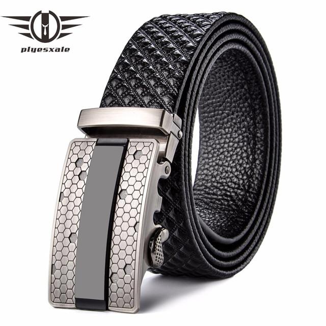 diseño atemporal 4d36b 94687 € 11.71 49% de DESCUENTO|Plyesxale cinturones de diseñador para hombre,  cinturón de cuero genuino de marca 2018, cinturones de lujo para hombre, ...