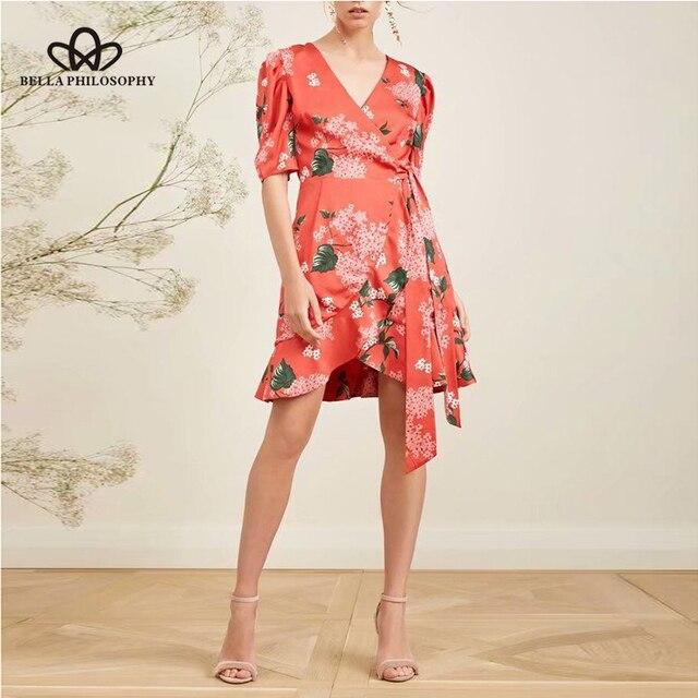 ae3c2772985c Wonder 2018 Summer New Vintage Dress women Mature Floral Print Bow Rope  Dresses Belted Half Sleeve Slim Fit Dress Vestidos