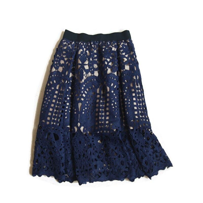 7604cc349 Nuevas Faldas elegantes de cintura alta para Mujer Faldas de moda Sexy  falda de encaje hueco Jupe ...