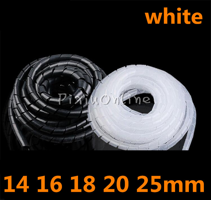 YL695b White PE 14 16 18 20 25mm Feet Spiral Wire Organizer Wrapping Tube Flexible Manage Cord Hiding Cable Sleeves Estonia 2m black white gray 40mm diameter computer cord manage wire cable sleeve winding tube flexible spiral wrapping band with clamp