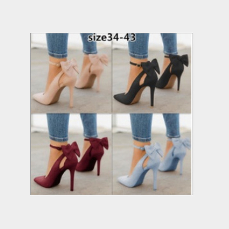 Women High Heels Brand Pumps Women Shoes Pointed Toe Buckle Strap Butterfly Summer Sexy Party Shoes Wedding Shoes Plus Size