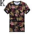 Моды для мужчин майка 2016 летние цветочные печатных хлопка с коротким рукавом хип-хоп топы и тройники мужчины футболки высокого качества