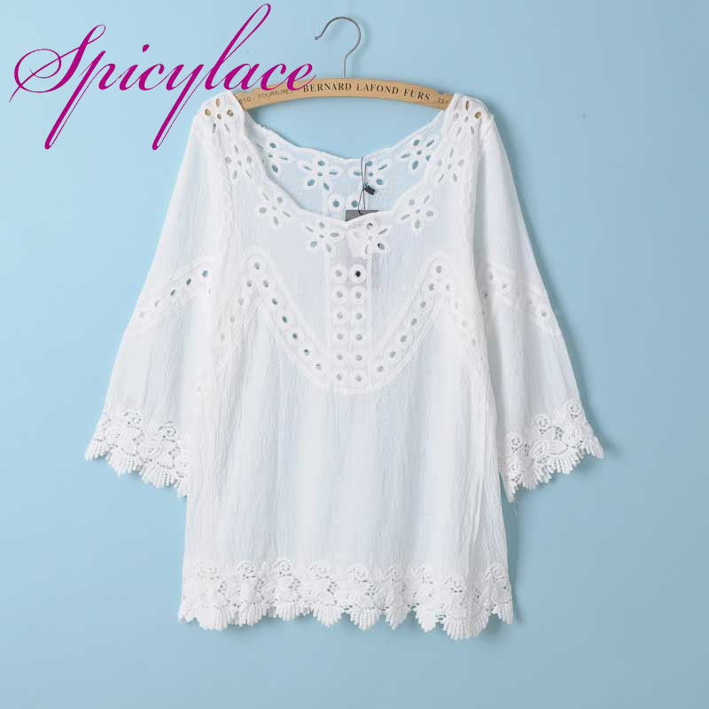 Korean Fashion Clothing Vintage O Neck Sunflower Crochet Lace casual loose Patchwork 3/4 Sleeve Hollow Out White Tops