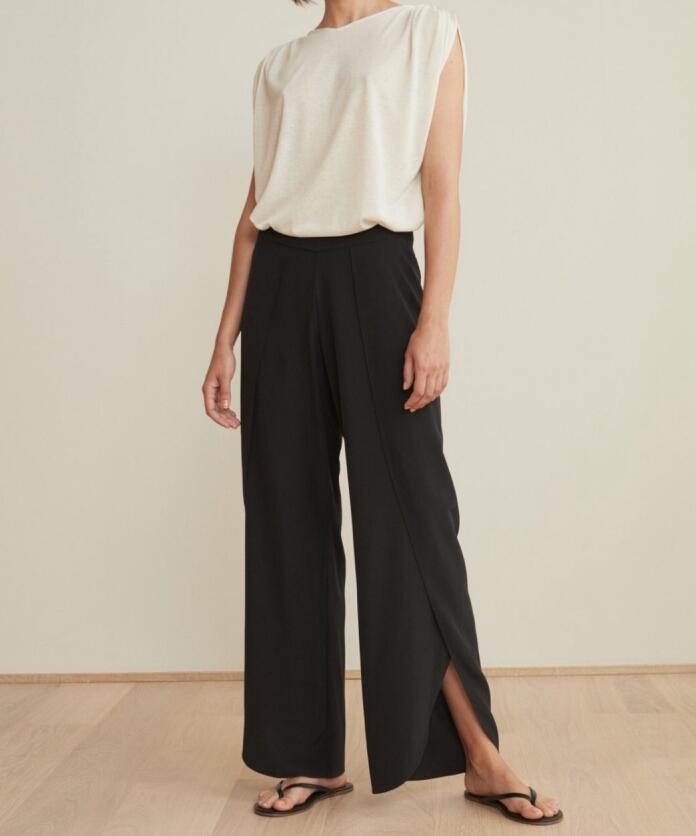100% 실크 블랙 툴롱 바지 슬릿 사이드 여성 패션 소프트 바지 고품질-에서팬티 & 카프리스부터 여성 의류 의  그룹 2