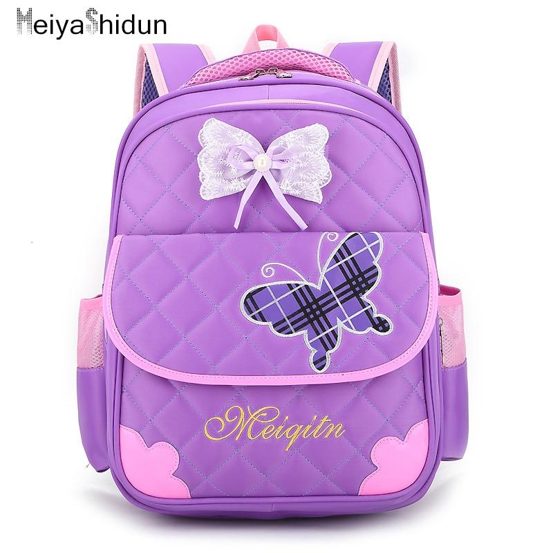 Cartoon Butterfly Orthopedic Backpacks Children Backpack School Bag for girls Princess Bookbags kids SchoolBag Back pack Mochila