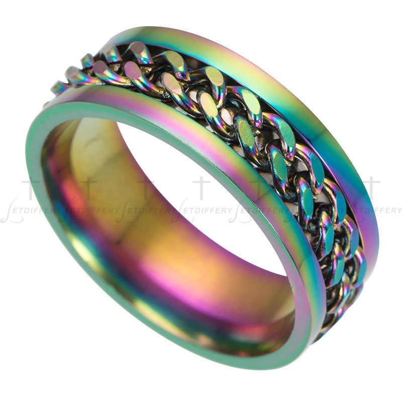 Letdiffery สแตนเลสโซ่สีสัน Spinner แหวน Punk Rock Finger Anel แหวนเครื่องประดับชาย