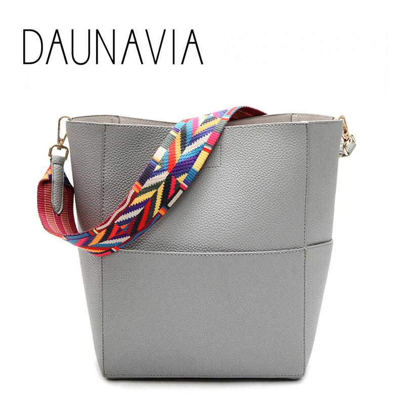 Prix pour Daunavia marque de luxe designer seau sac femmes en cuir large sangle d'épaule sac à main de grande capacité sac bandoulière couleur 5