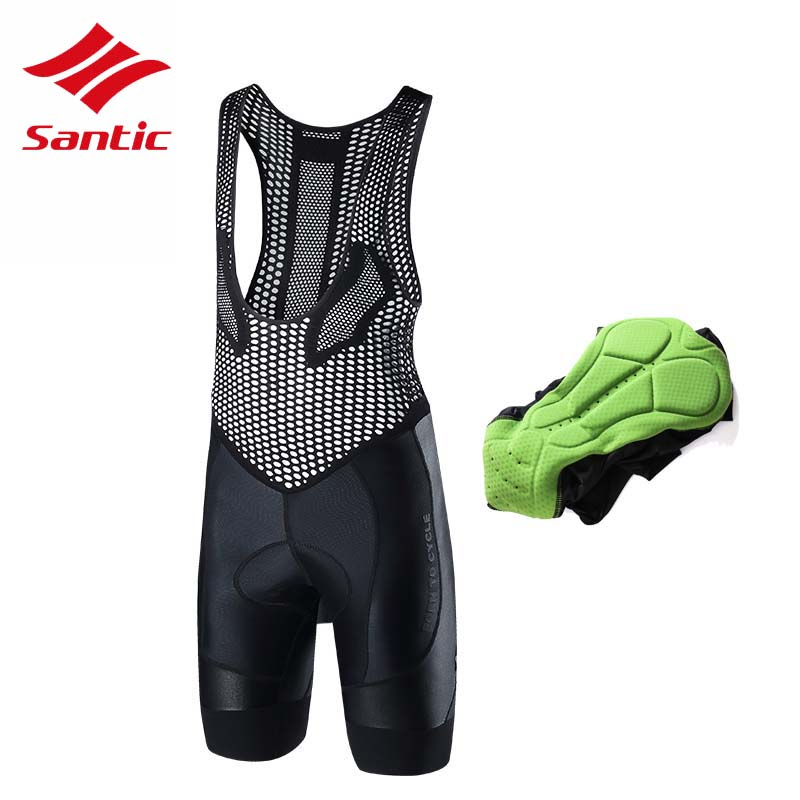 Santic Cycling Bib Shorts Men Pro Gel Padded Road MTB Bicycle Bike Bib Shorts Mens 2018 Racing Downhill Riding Bermuda Ciclismo одежда для мужчин