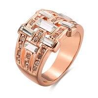Women Fashion Rose Gold Cubic Zirconia Wide Statement Finger Ring Bohemian Austrian Crystal Luxury Jewelry Rings