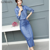 Denim dresses 2018 Summer Dress Women Washed Blue Female Long Sleeve Jeans Dress Casual Ziper V Neck Slim Waist Spring Clothing